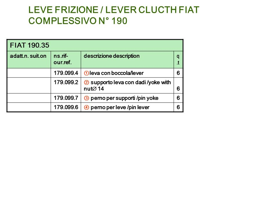 LEVE FRIZIONE / LEVER CLUCTH FIAT COMPLESSIVO N° 190