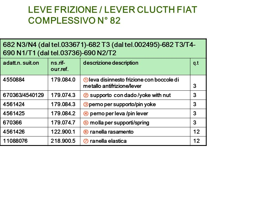 LEVE FRIZIONE / LEVER CLUCTH FIAT COMPLESSIVO N° 82