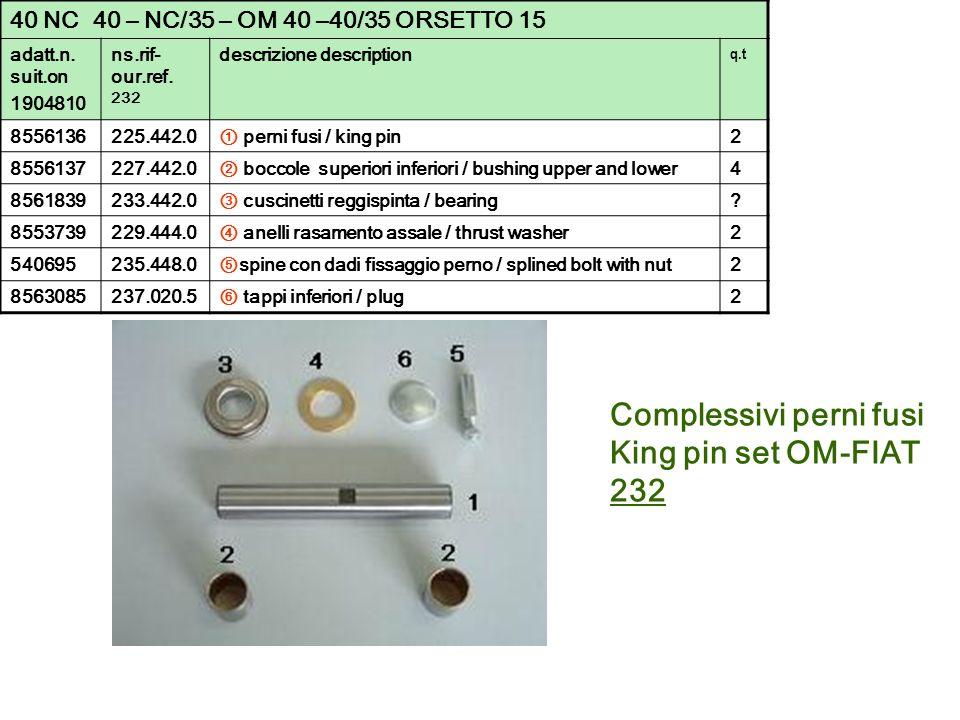 Complessivi perni fusi King pin set OM-FIAT 232