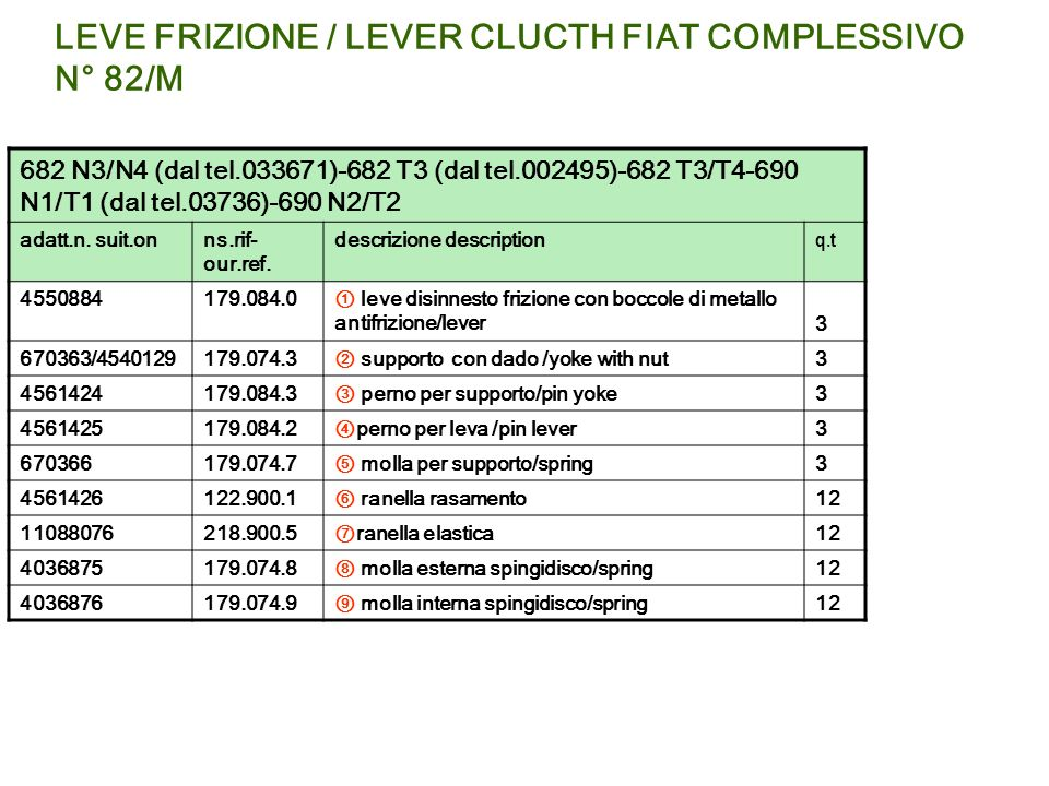 LEVE FRIZIONE / LEVER CLUCTH FIAT COMPLESSIVO N° 82/M