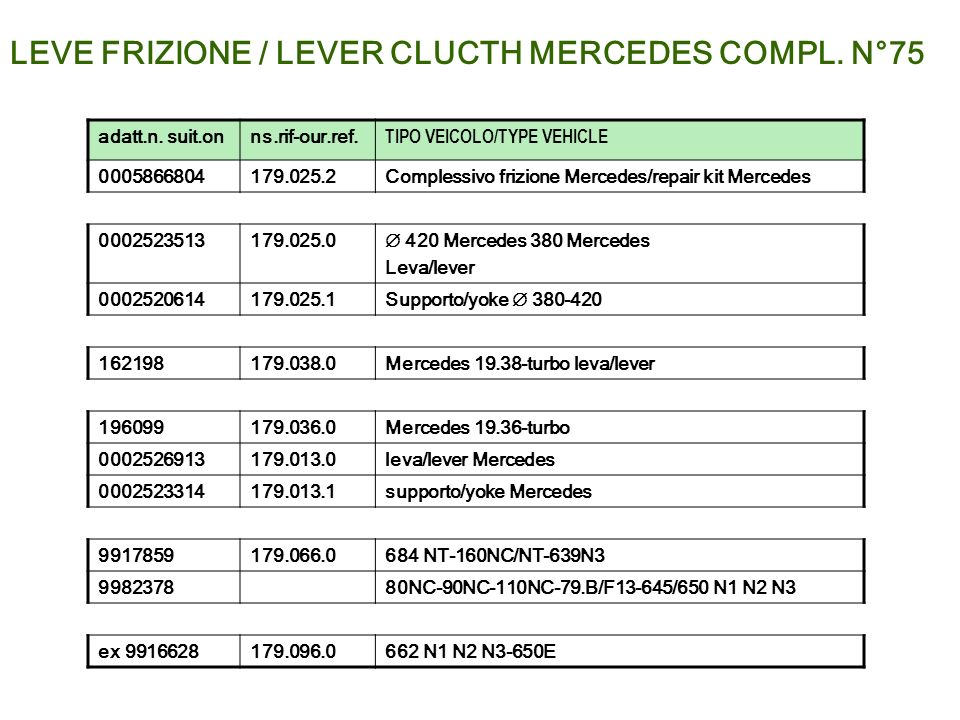 LEVE FRIZIONE / LEVER CLUCTH MERCEDES COMPL. N°75