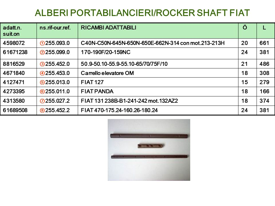 ALBERI PORTABILANCIERI/ROCKER SHAFT FIAT