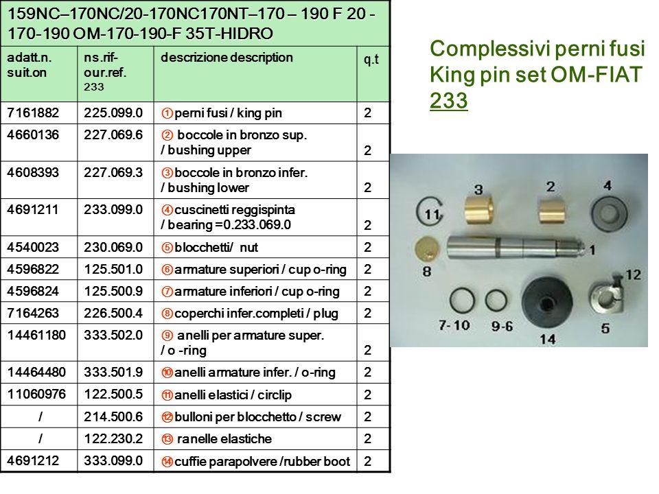 Complessivi perni fusi King pin set OM-FIAT 233