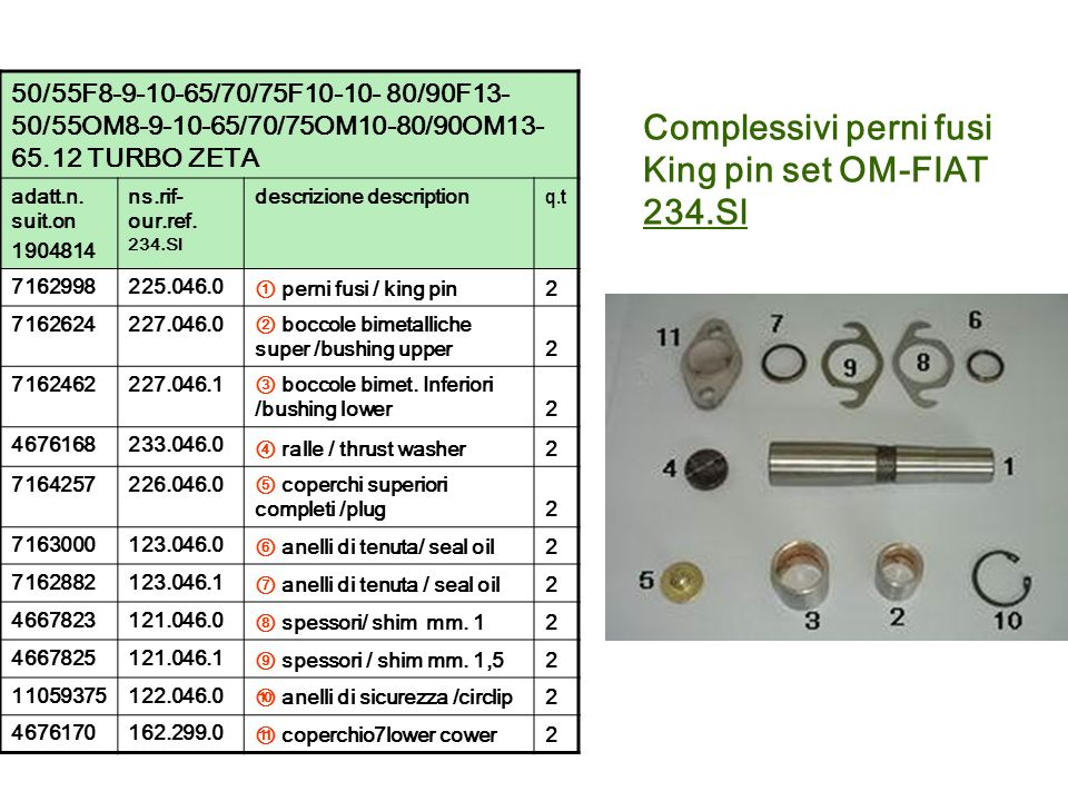 Complessivi perni fusi King pin set OM-FIAT 234.Sl