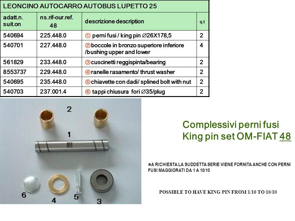 Complessivi perni fusi King pin set OM-FIAT 48