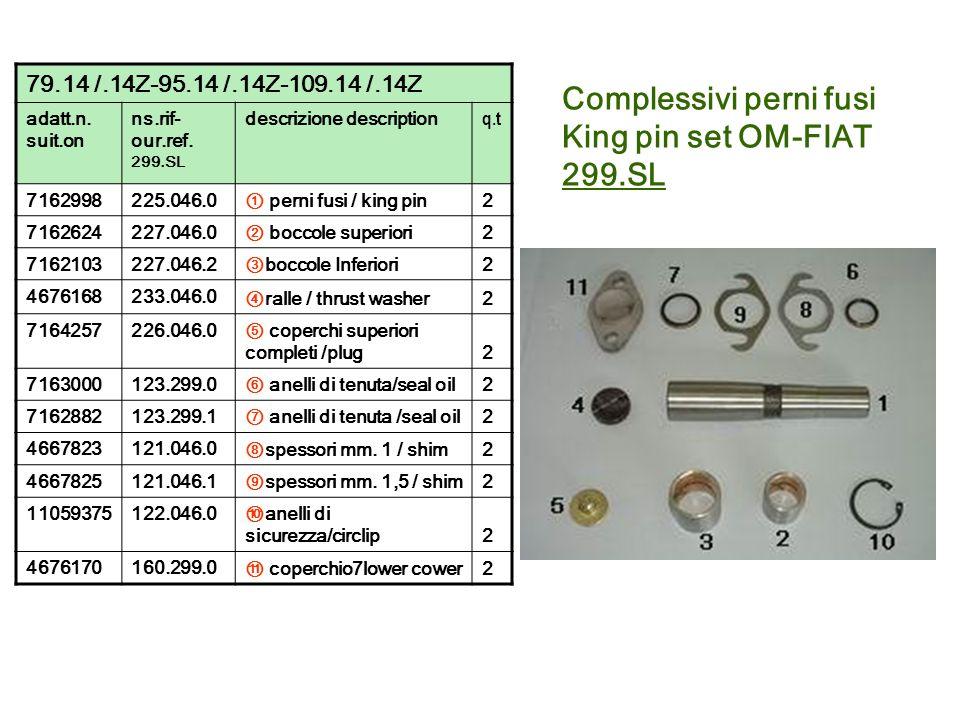 Complessivi perni fusi King pin set OM-FIAT 299.SL