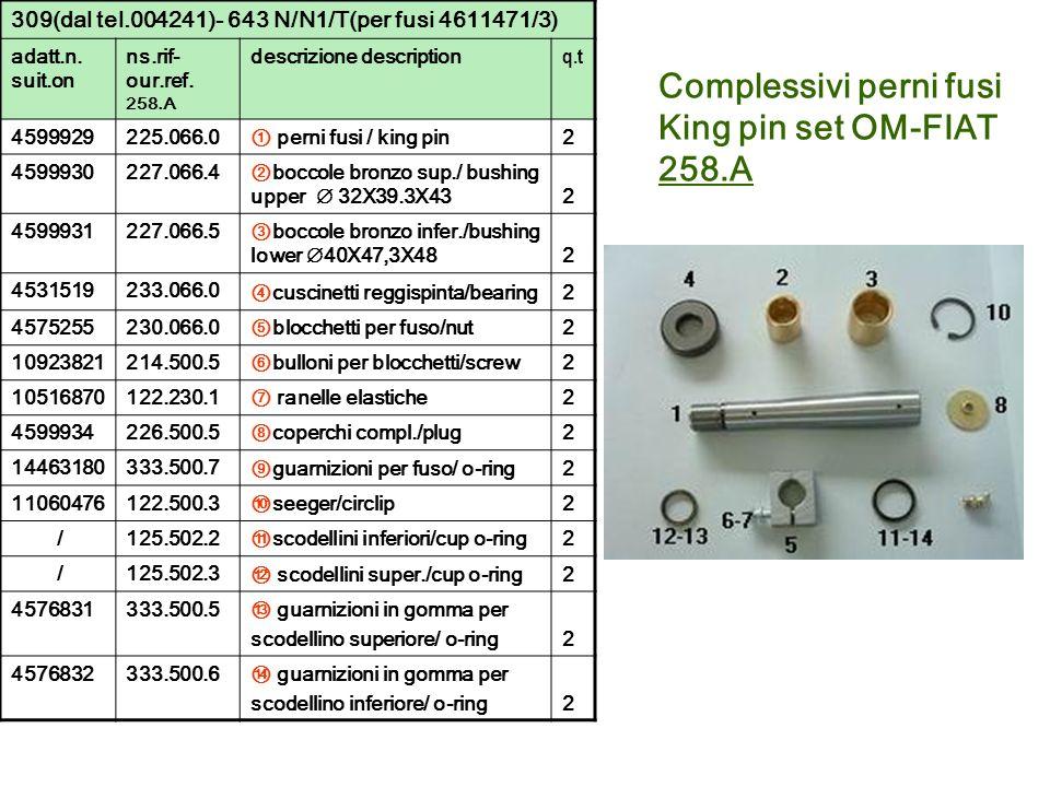 Complessivi perni fusi King pin set OM-FIAT 258.A