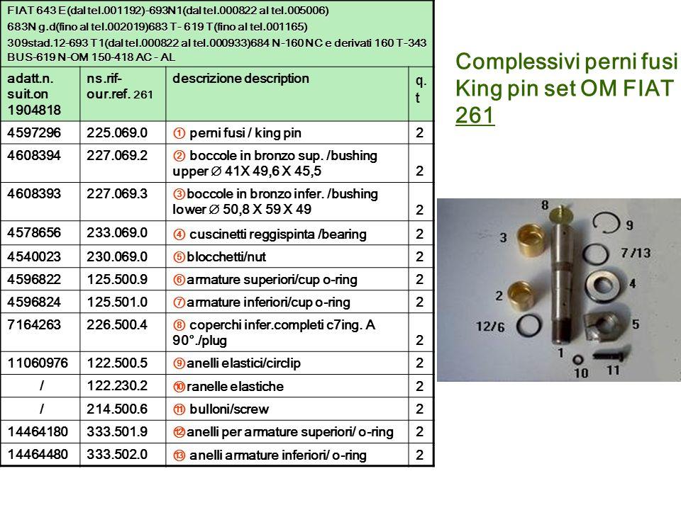 Complessivi perni fusi King pin set OM FIAT 261