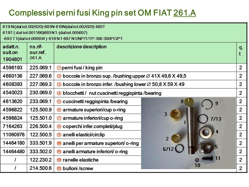 Complessivi perni fusi King pin set OM FIAT 261.A