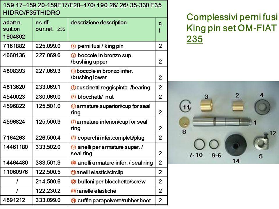 Complessivi perni fusi King pin set OM-FIAT 235