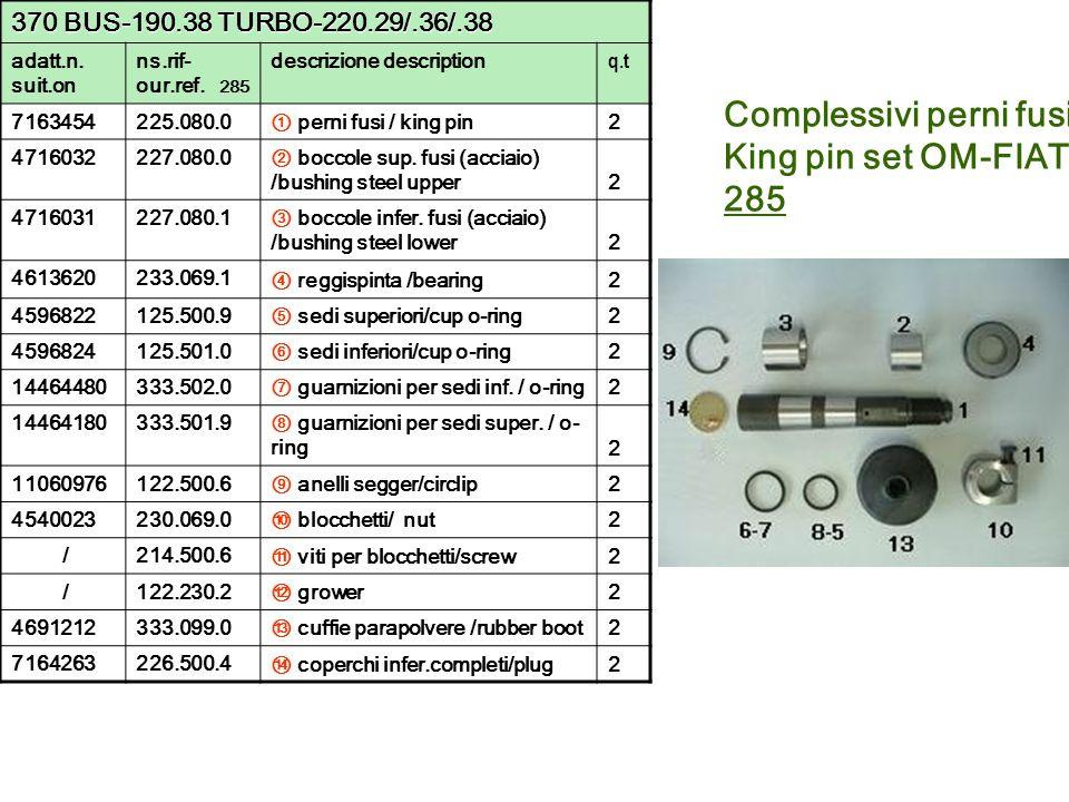 Complessivi perni fusi King pin set OM-FIAT 285