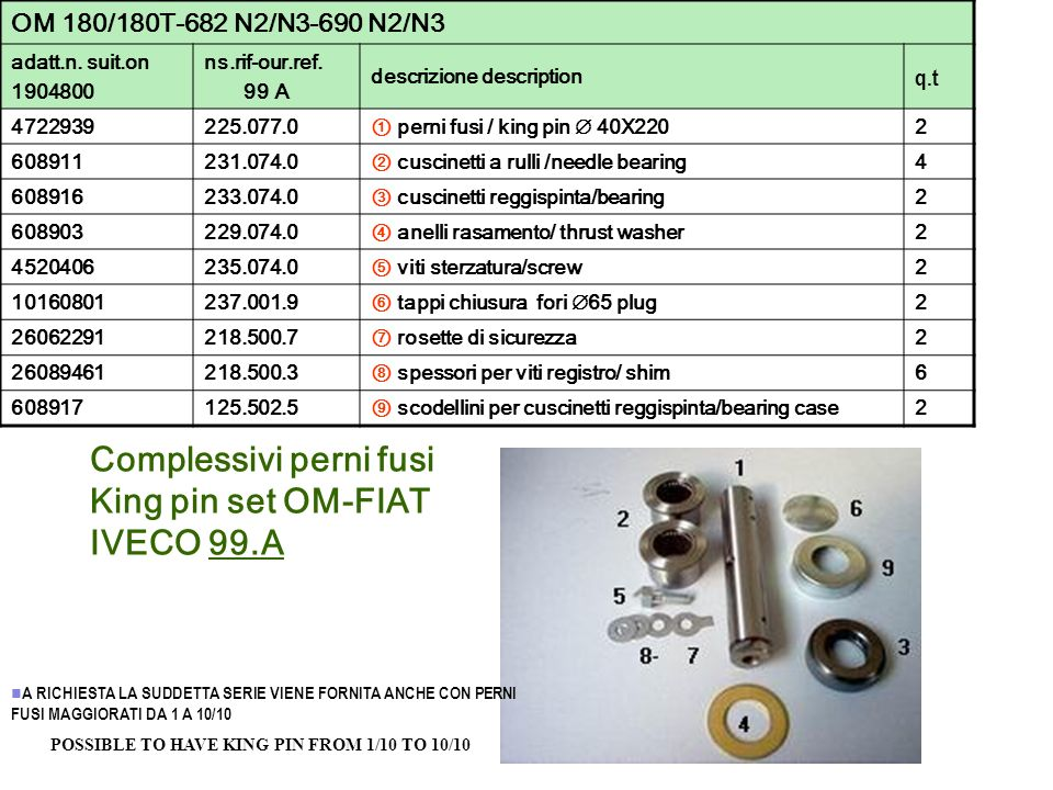 Complessivi perni fusi King pin set OM-FIAT IVECO 99.A