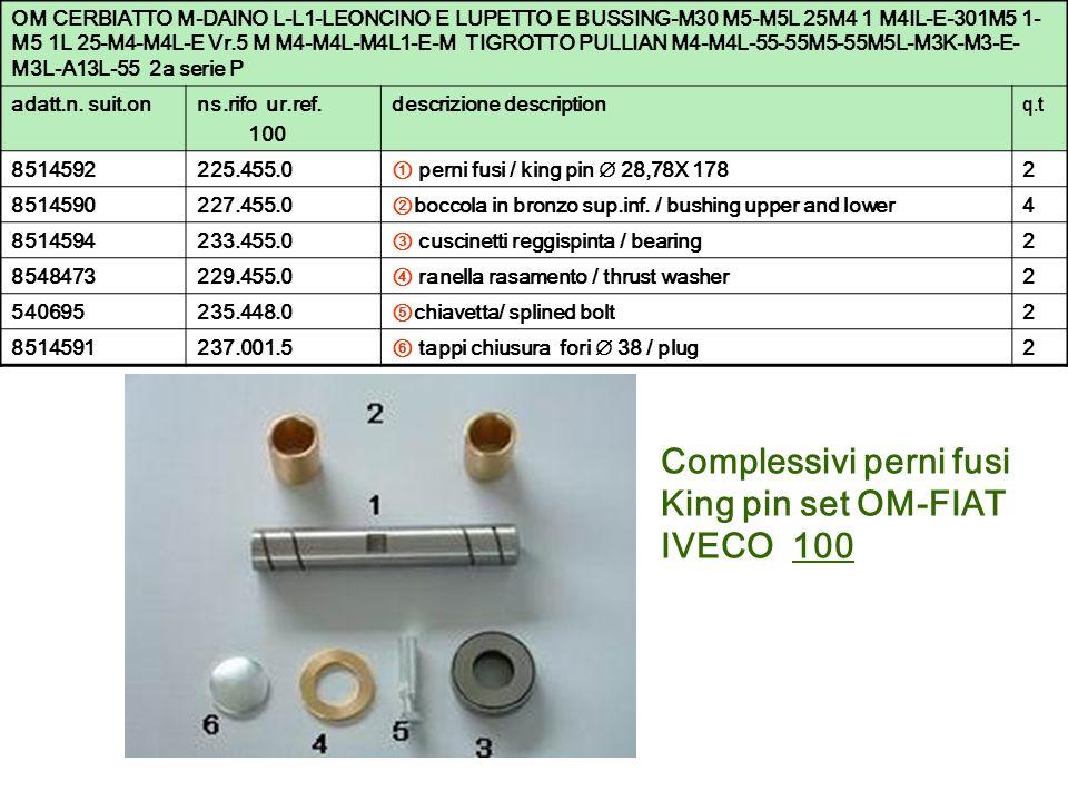 Complessivi perni fusi King pin set OM-FIAT IVECO 100