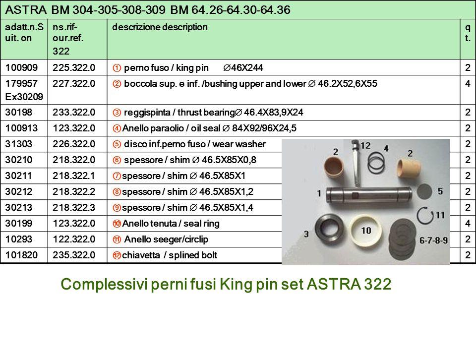 Complessivi perni fusi King pin set ASTRA 322