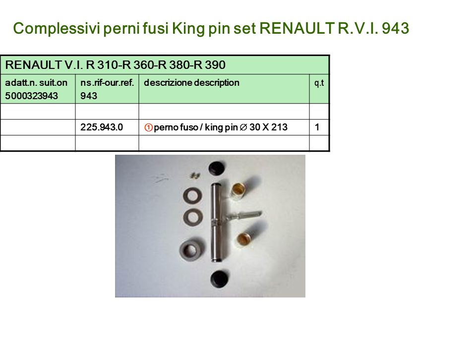 Complessivi perni fusi King pin set RENAULT R.V.I. 943