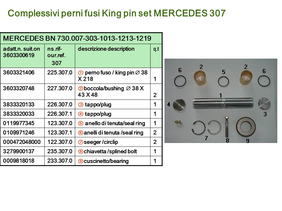 Complessivi perni fusi King pin set MERCEDES 307