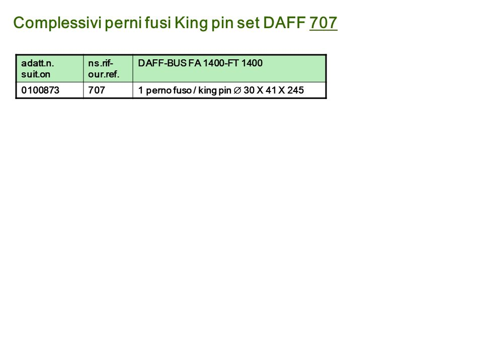 Complessivi perni fusi King pin set DAFF 707