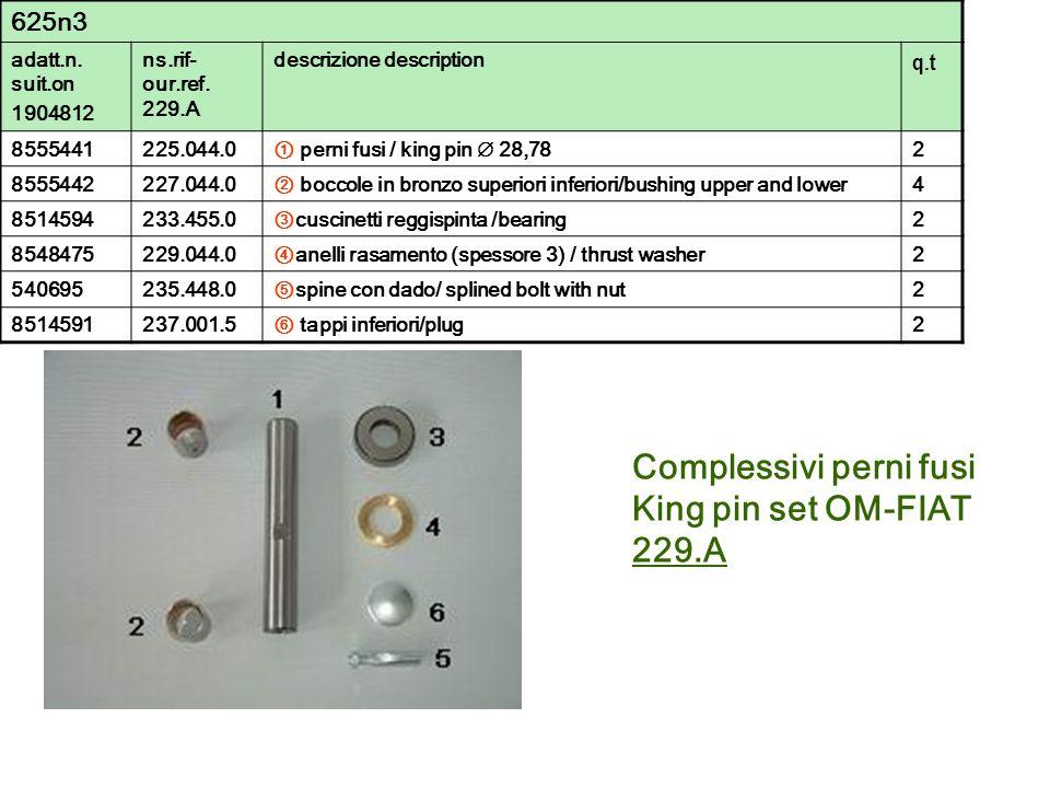 Complessivi perni fusi King pin set OM-FIAT 229.A