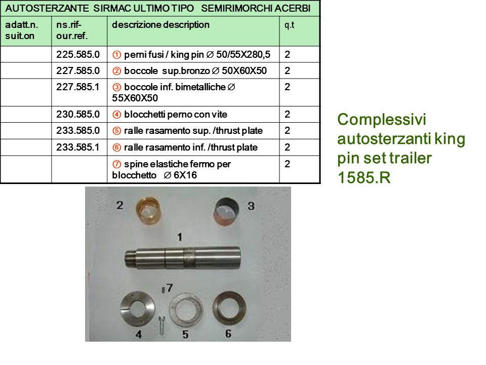 Complessivi autosterzanti king pin set trailer 1585.R
