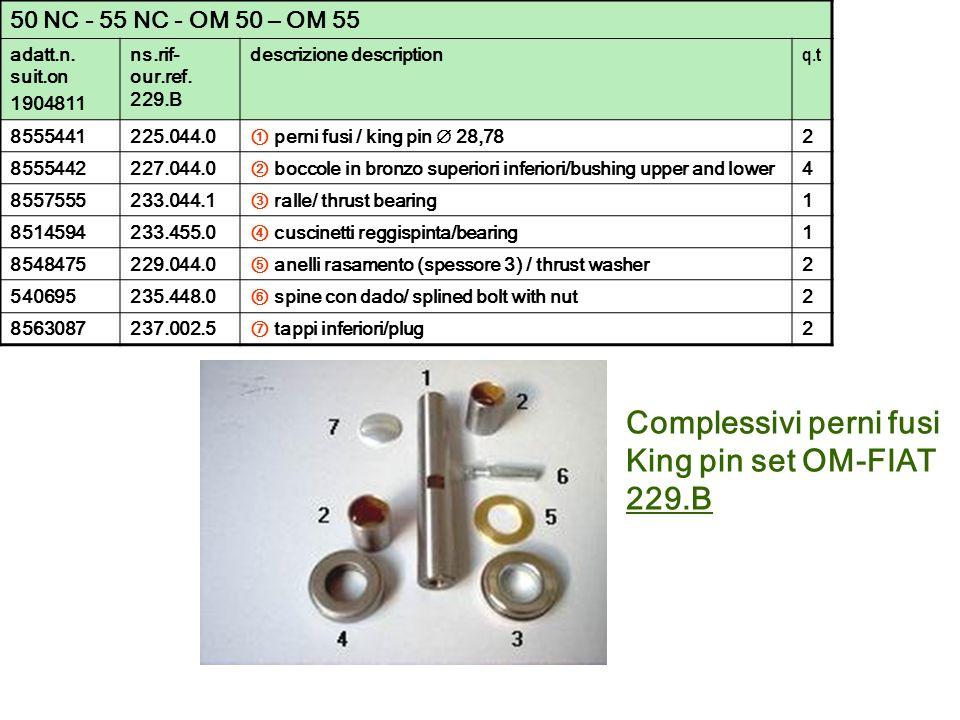 Complessivi perni fusi King pin set OM-FIAT 229.B