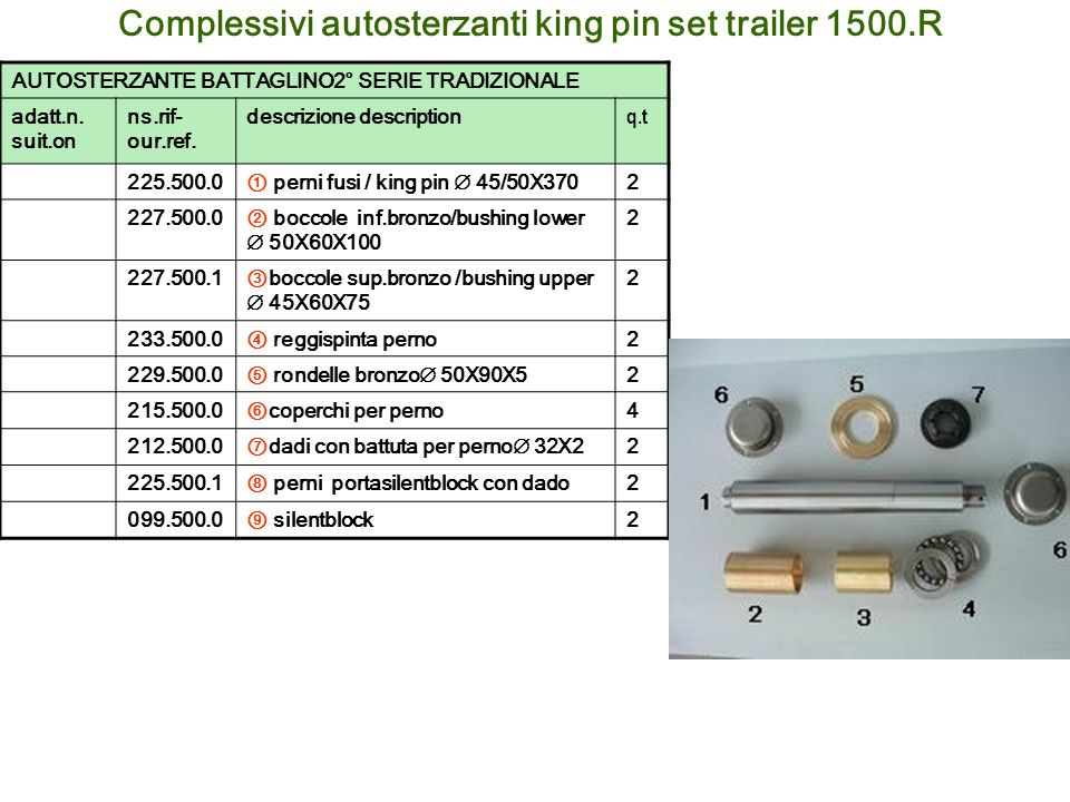 Complessivi autosterzanti king pin set trailer 1500.R