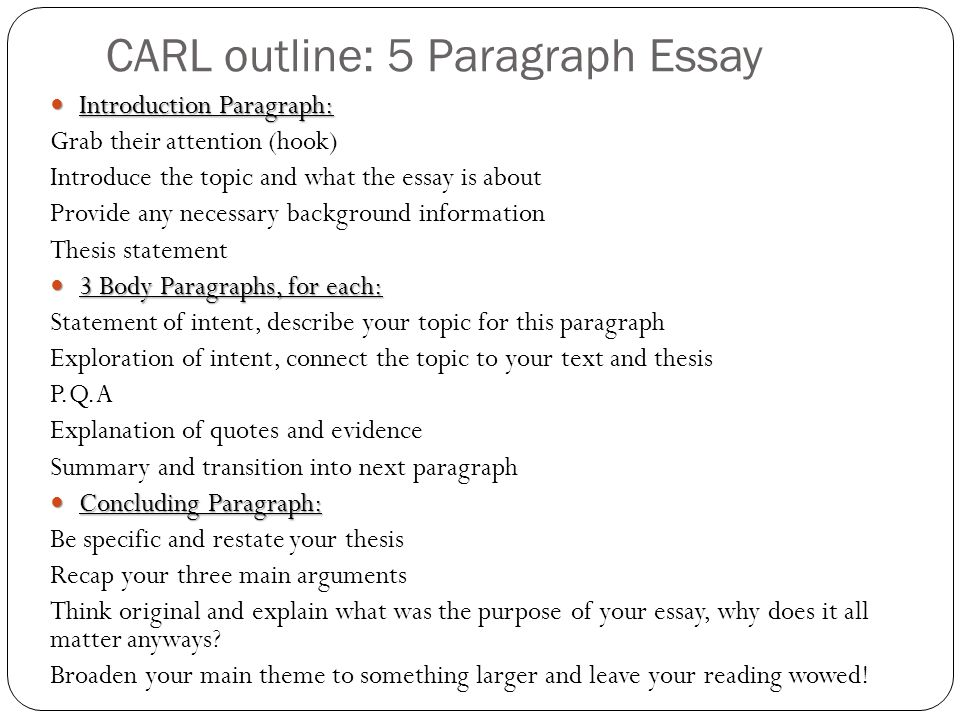 5 paragraph essay outline english