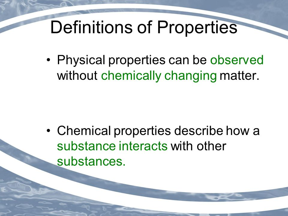 What Is A Chemical Property Of Water At C