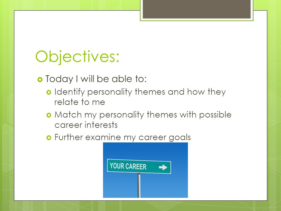 Objectives: Today I will be able to: