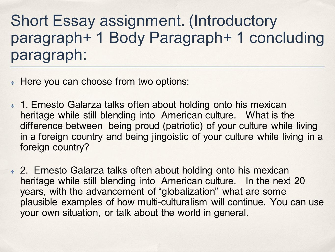 barrio boy s and nombres ppt  short essay assignment