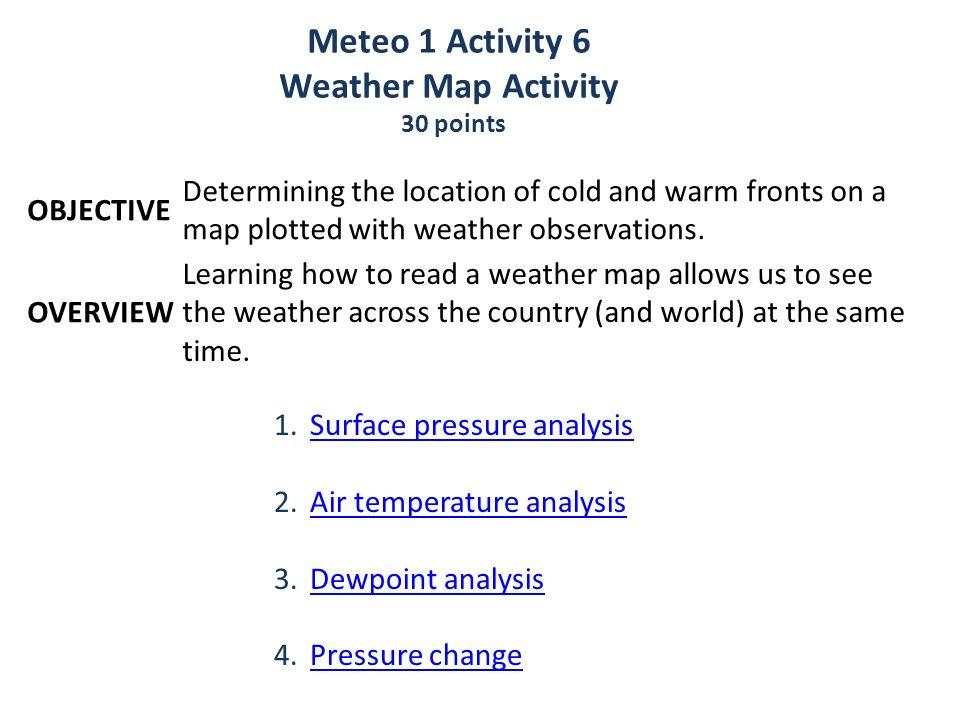 Meteo 1 Activity 6 Weather Map Activity