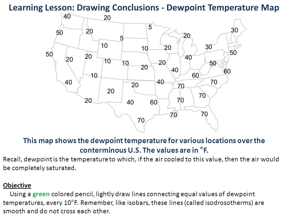 Meteo Activity Weather Map Activity Ppt Download - Us dewpoint map