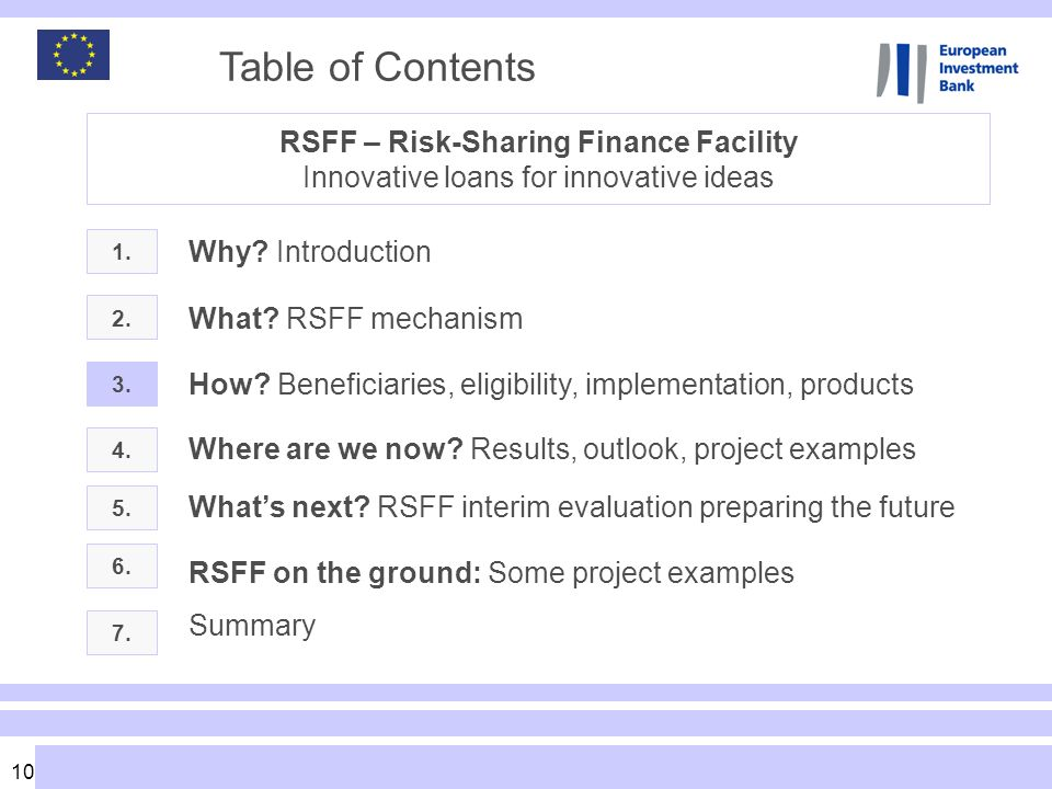 Table of Contents RSFF – Risk-Sharing Finance Facility Innovative loans for innovative ideas. Why Introduction.
