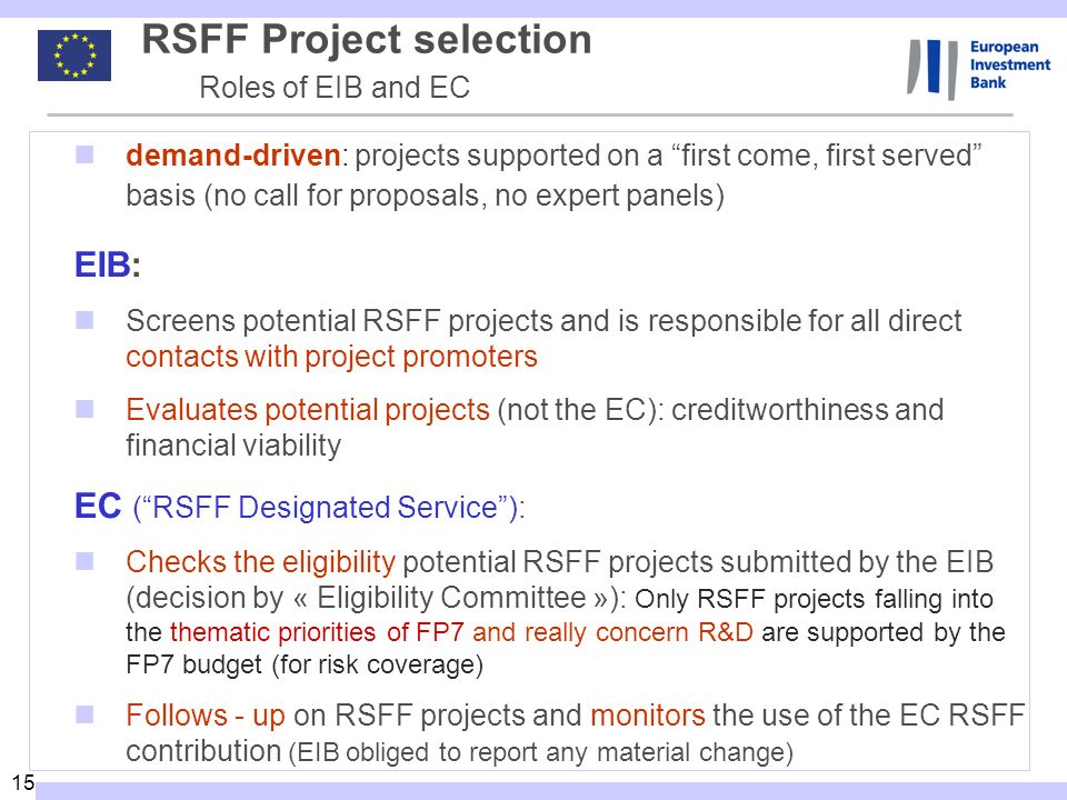 RSFF Project selection