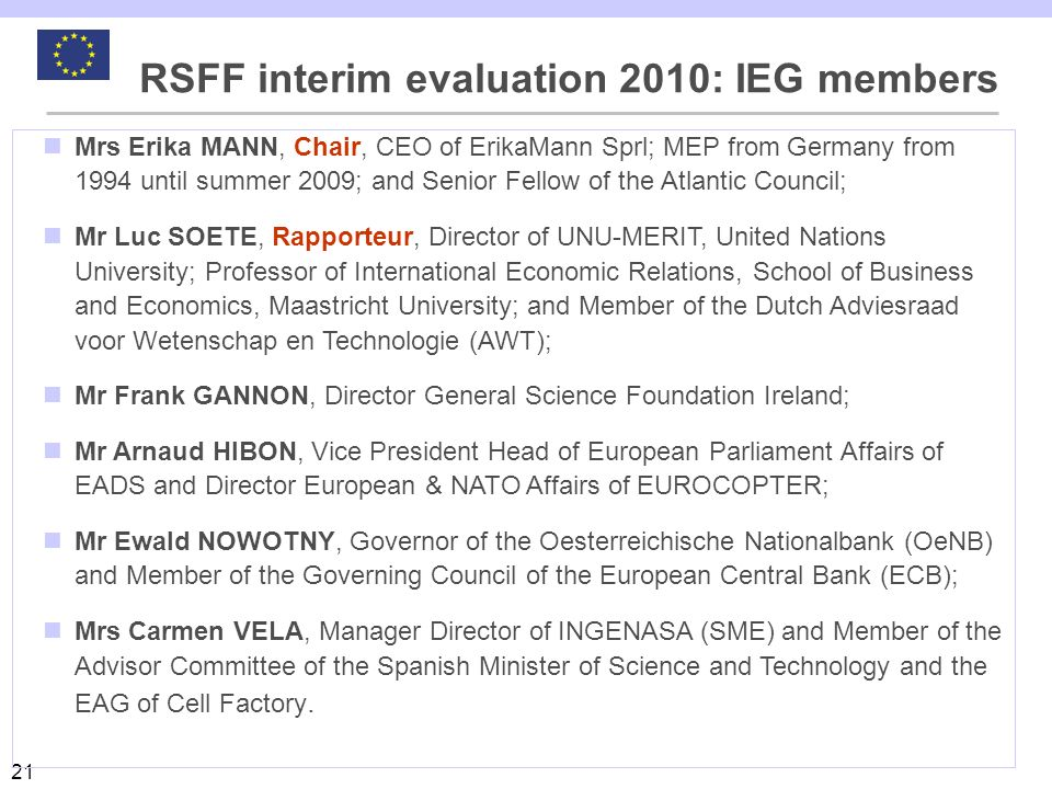 RSFF interim evaluation 2010: IEG members