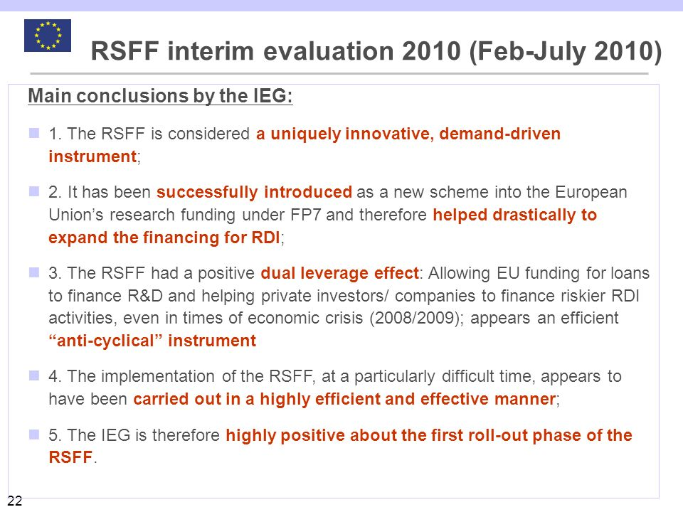 RSFF interim evaluation 2010 (Feb-July 2010)