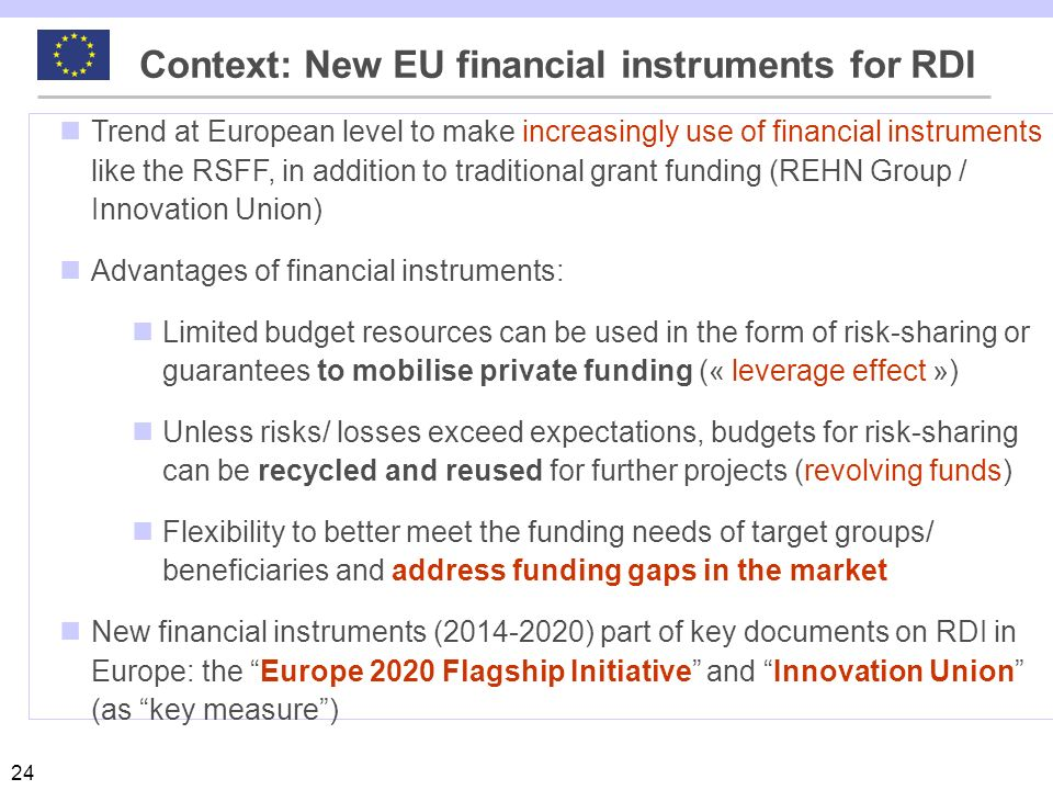 Context: New EU financial instruments for RDI