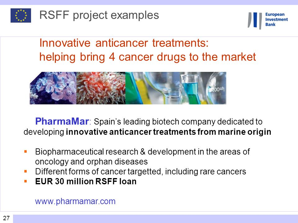 RSFF project examples Innovative anticancer treatments: helping bring 4 cancer drugs to the market
