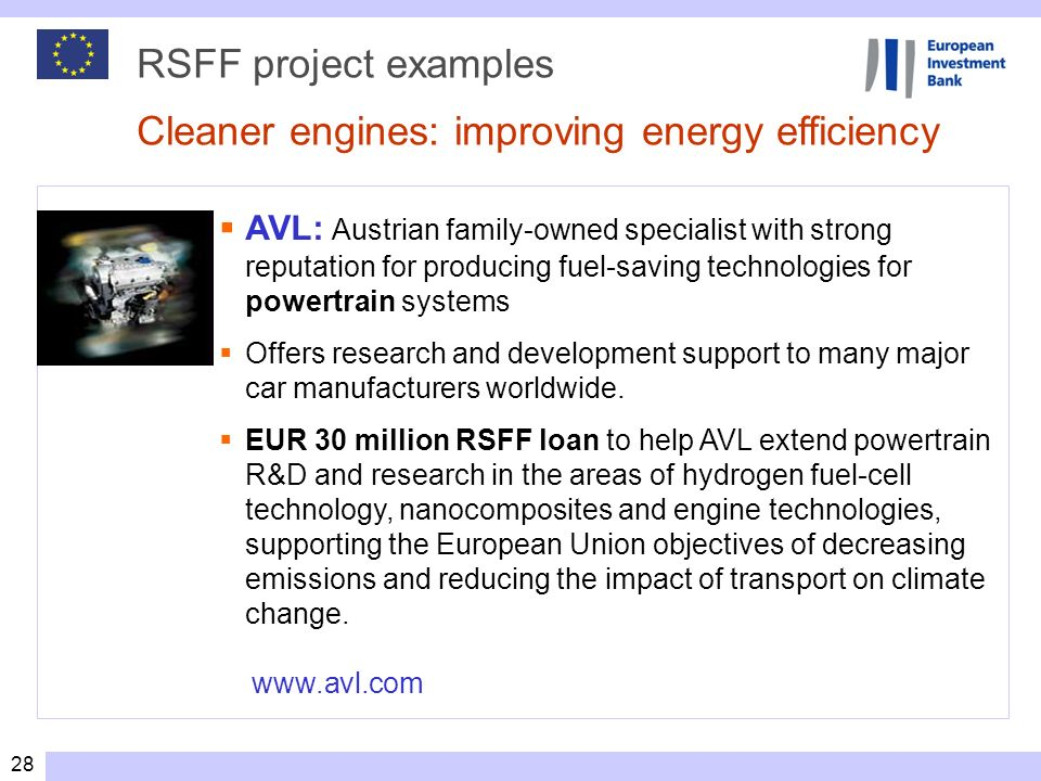 RSFF project examples Cleaner engines: improving energy efficiency