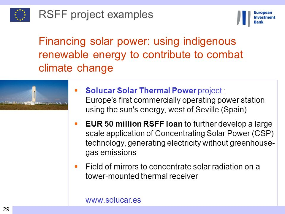 RSFF project examples Financing solar power: using indigenous renewable energy to contribute to combat climate change