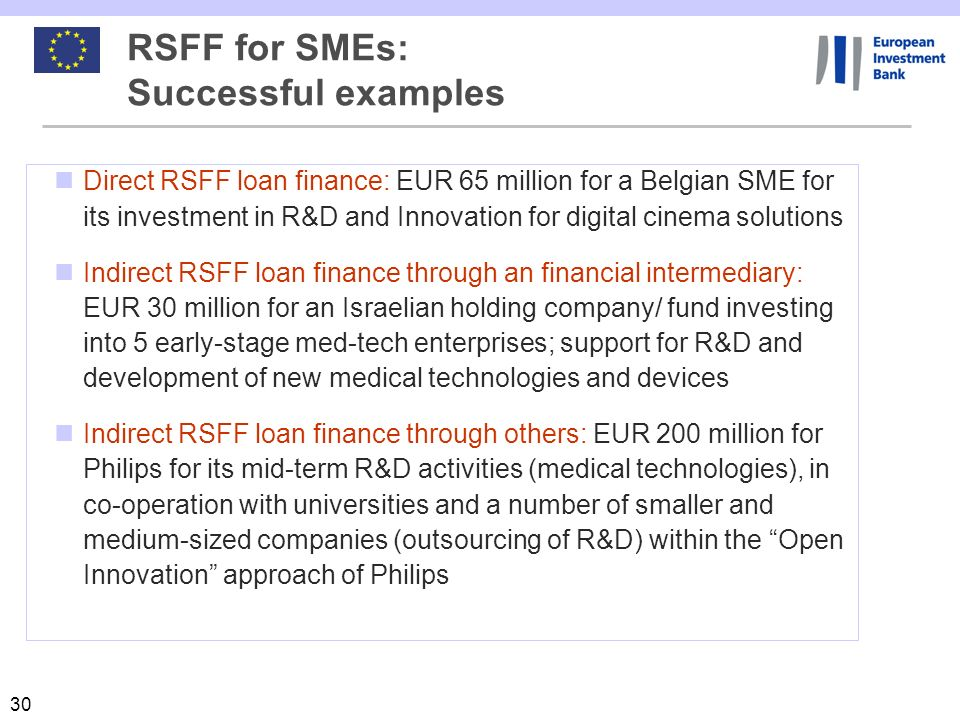 RSFF for SMEs: Successful examples