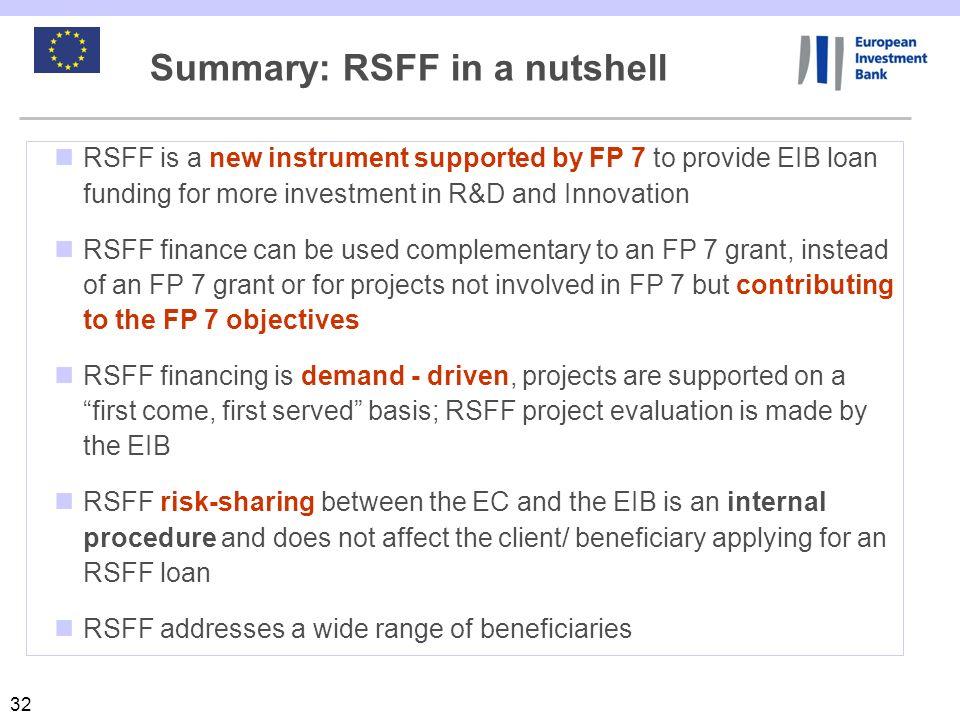 Summary: RSFF in a nutshell