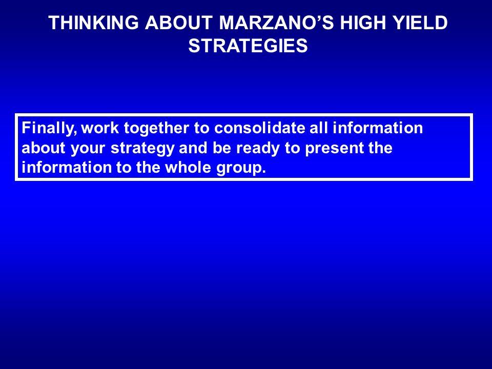 high yield instructional strategies