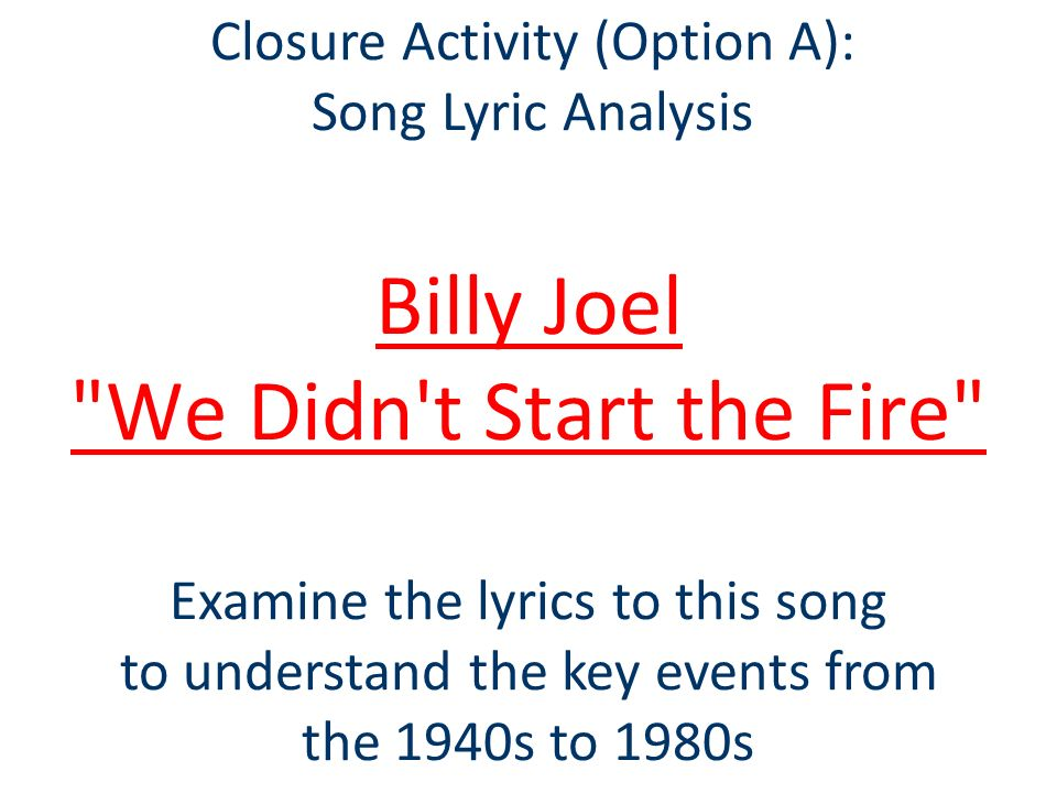 an analysis of billy joels speech critique The entire wikipedia with video and photo galleries for each article find something interesting to watch in seconds.