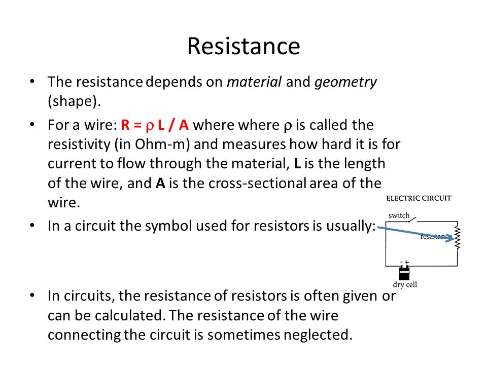 an analysis of resistance depends on the material of the wire The resistance of a wire depends on certain factors some of these variables are listed below: length of wire diameter of wire temperature at which wire is at.