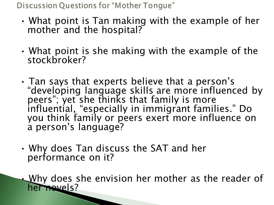 """discussion questions for """"mother tongue"""" ppt video online  discussion questions for mother tongue"""