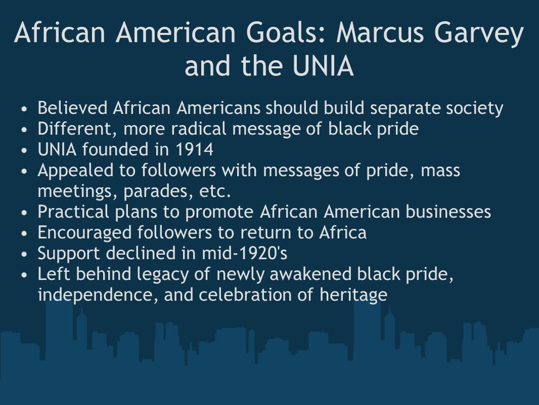 the naacp and the unia s goals Garvey, marcus (1887-1940) back to online the distinct possibility of achieving these goals that led the unia to become an organization of the ideological and organization struggles of marcus garvey and the universal negro improvement association (westport, ct: greenwood.