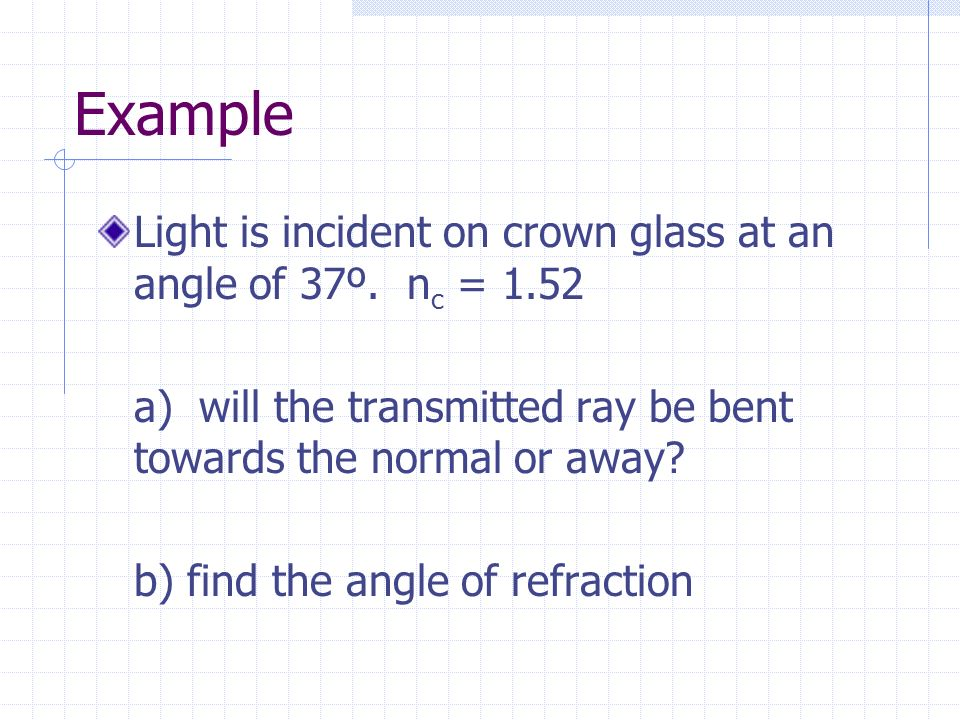 Example Light is incident on crown glass at an angle of 37º. nc = 1.52