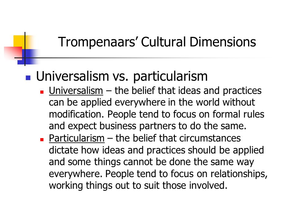 trompenaars culture dimensions on ghana Recognizing cultural differences between china & denmark prestigious cultural theorists as hall, trompenaars number of cultural dimensions.