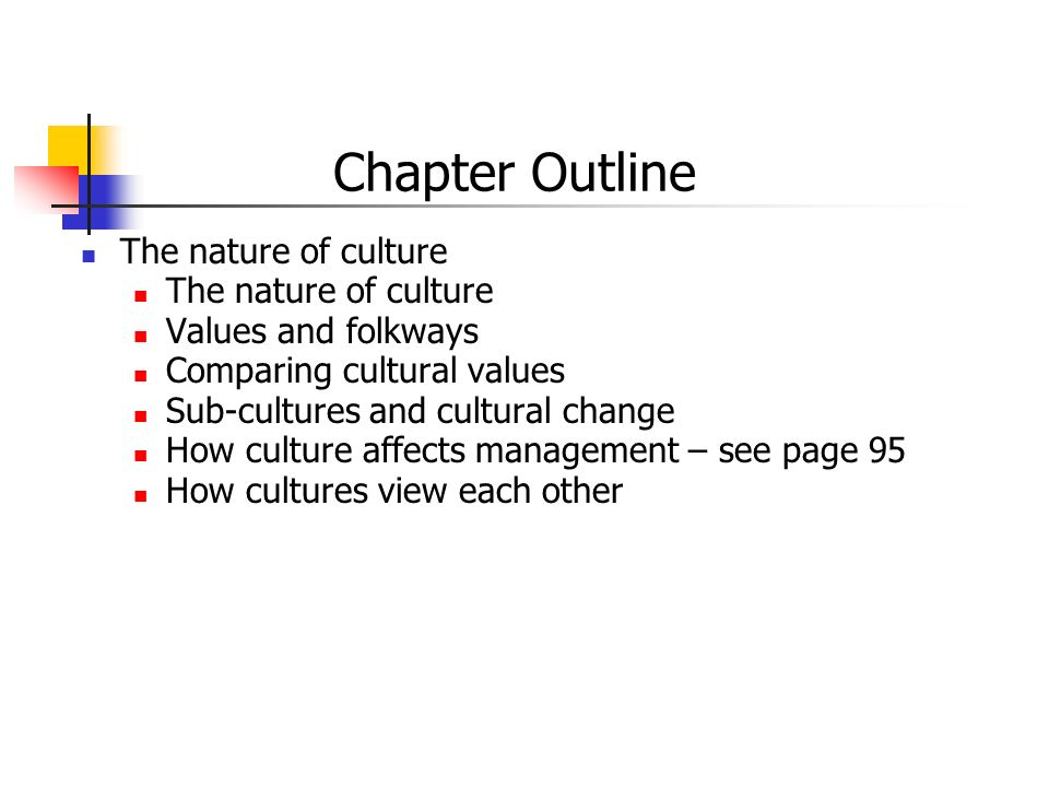 Chapter Outline The nature of culture Values and folkways