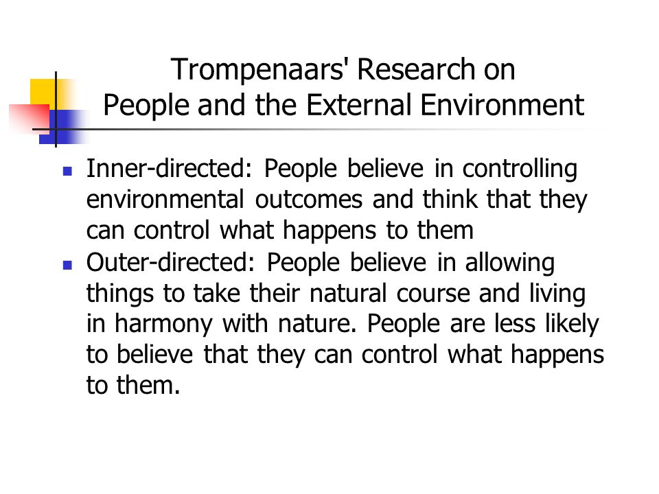 Trompenaars Research on People and the External Environment